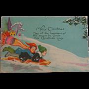 Christmas Postcard Children Sledding 1928