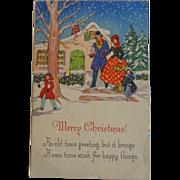Christmas Postcard Family Snow House