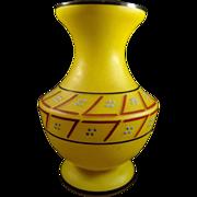 Czech Yellow Satin Glass Vase Enamel Design 1920s