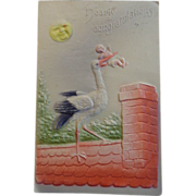 Baby Congratulations Postcard Stork Baby Embossed 1908