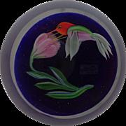 Signed Correia Art Glass Hummingbird Paperweight 1984