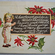 Christmas Postcard Embossed Child Chalkboard 1915