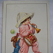 Vintage Christmas Postcard 1916 Embossed  Child Toys Pajamas
