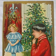 Vintage Christmas Postcard Embossed  Children Tree Mistletoe