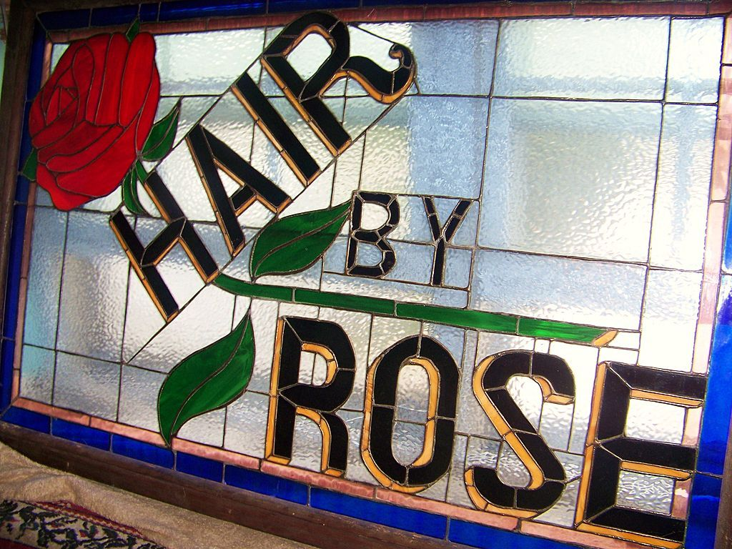 """Wonderful Vintage St. Louis 1930's-40's Barbershop Collectible """"Hair by Rose"""" 55"""" X 35"""" Stain Glass Sign"""