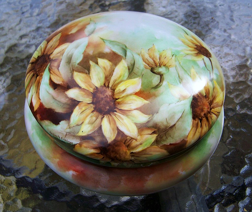 "Large Bavaria 8"" 1900's Hand Painted ""Sunflower"" Dresser Box Casket by Artist, ""Marguerite Seidelman"""