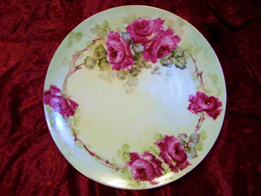 """T & V Limoges France 1900's Hand Painted """"Deep Red Roses"""" 12-1/2"""" Charger by """"Kellogg"""""""