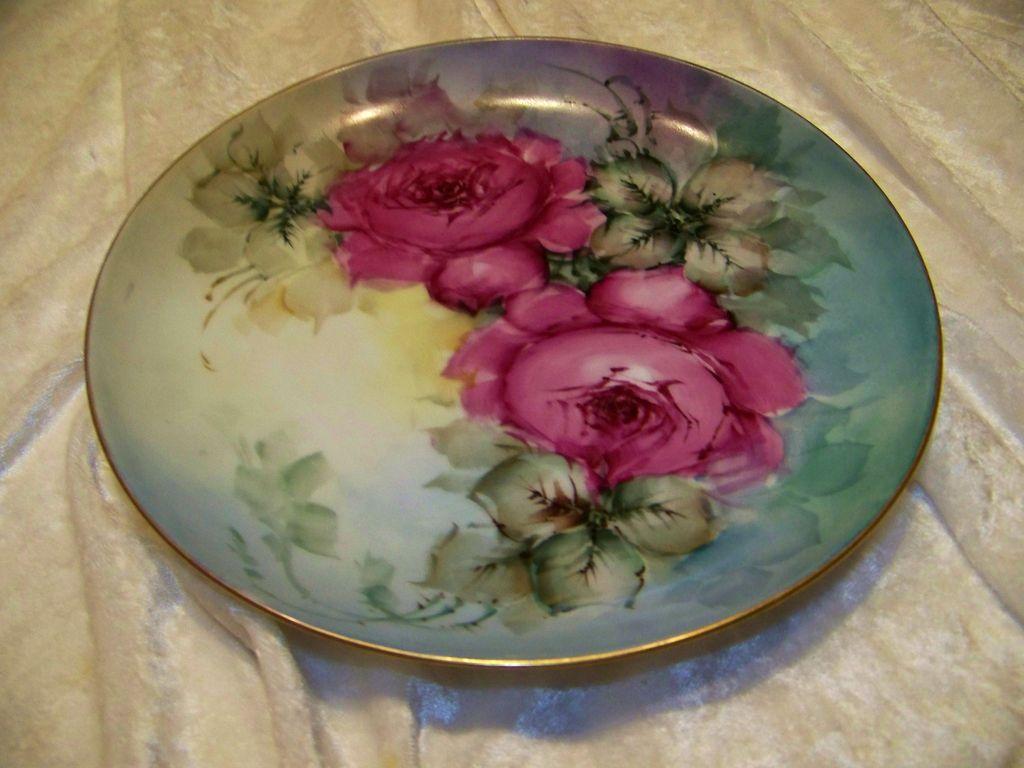 "Vintage JR Bavaria 1900's Hand Painted ""Deep Red Roses"" 8-1/4"" Plate"