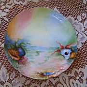 "1900's Limoges France Hand Painted ""Sea Life"" 8-3/8"" Plate by the Artist, ""E.K."""