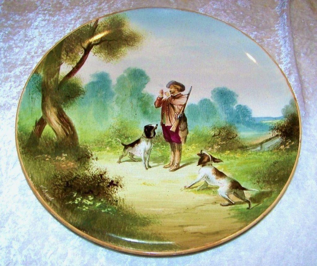 "Large & Impressive France 1875--80's Hand Painted ""Hunt Scene"" 14-1/4"" Plaque by the French Artist, "" V. Bimet"""