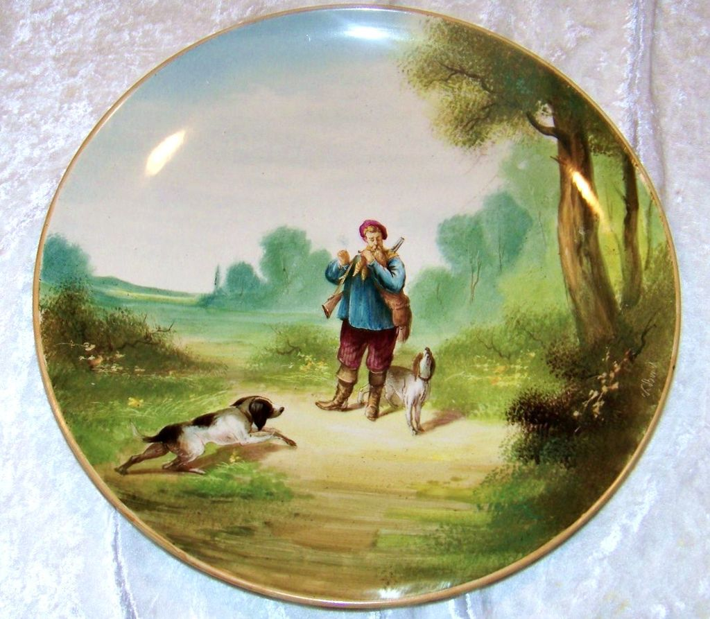 """Outstanding & Large France 1875--80's Hand Painted """"Hunt Scene"""" 14-1/4"""" Plaque by the French Artist, """" V. Bimet"""""""