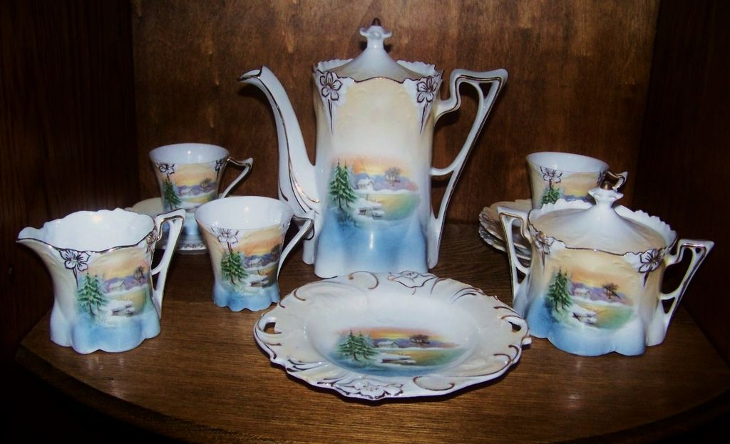 "Scarce RS Prussia 1900's Scenic ""Snowbird"" 12 Pc. Childs Tea Set"