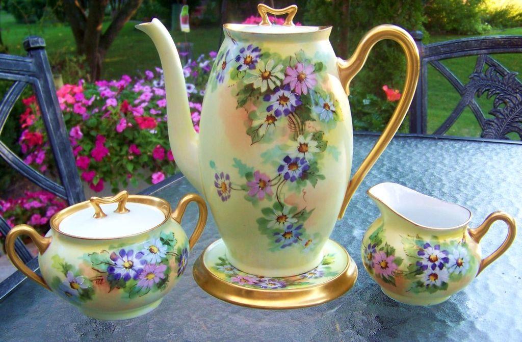 "Spectacular Vintage Bavaria 1900's Hand Painted ""Pink, Blue, Yellow, & Lavender Daisies"" Tea Set"
