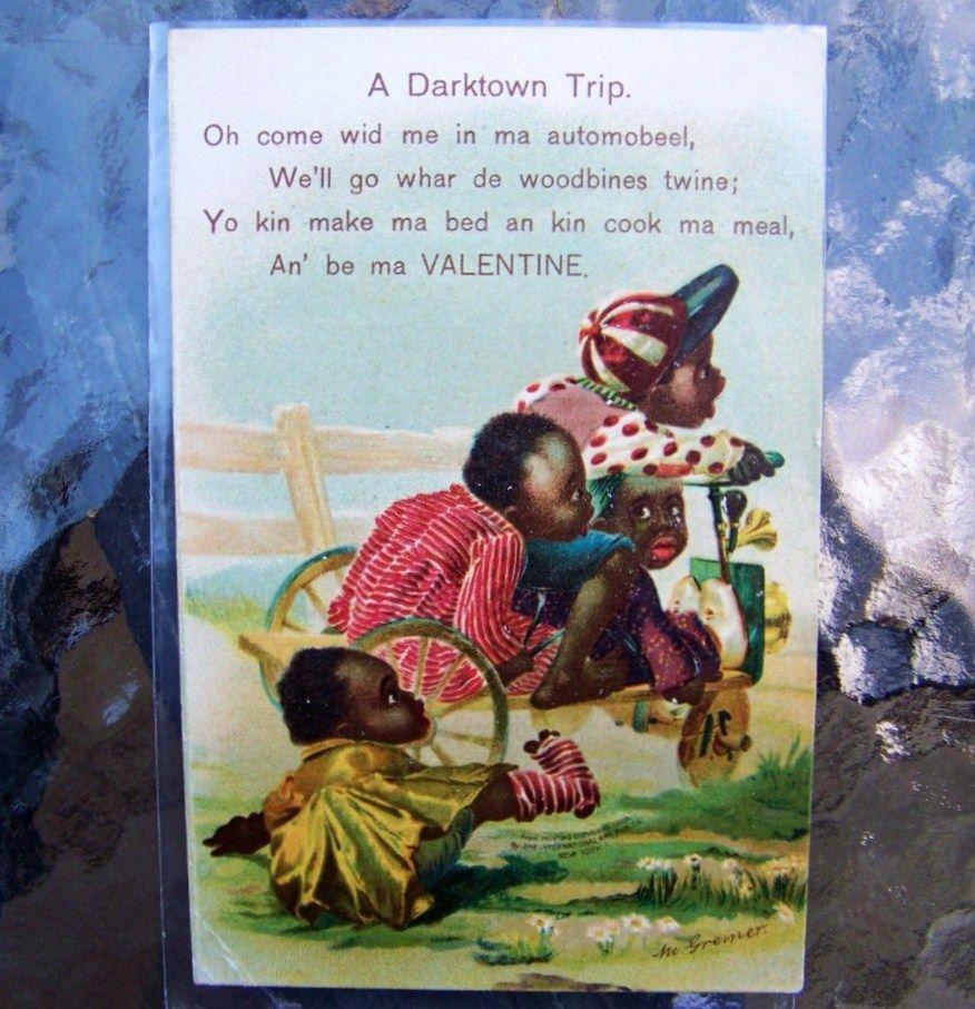 "Black Americana, German Printed, 1909 Valentine Post Card Entitled ""A Darktown Trip"""