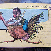 "Black Americana 1907 Post Card depicting a Black Man riding a Turkey and Entitled ""out on a long foul"""