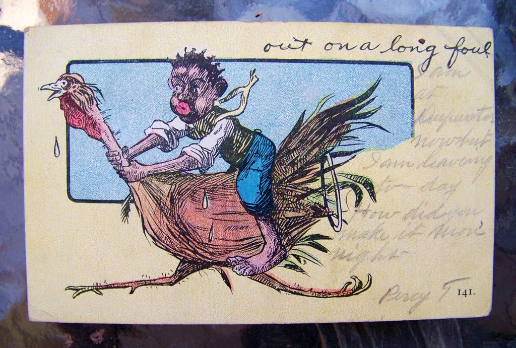 """Black Americana 1907 Post Card depicting a Black Man riding a Turkey and Entitled """"out on a long foul"""""""