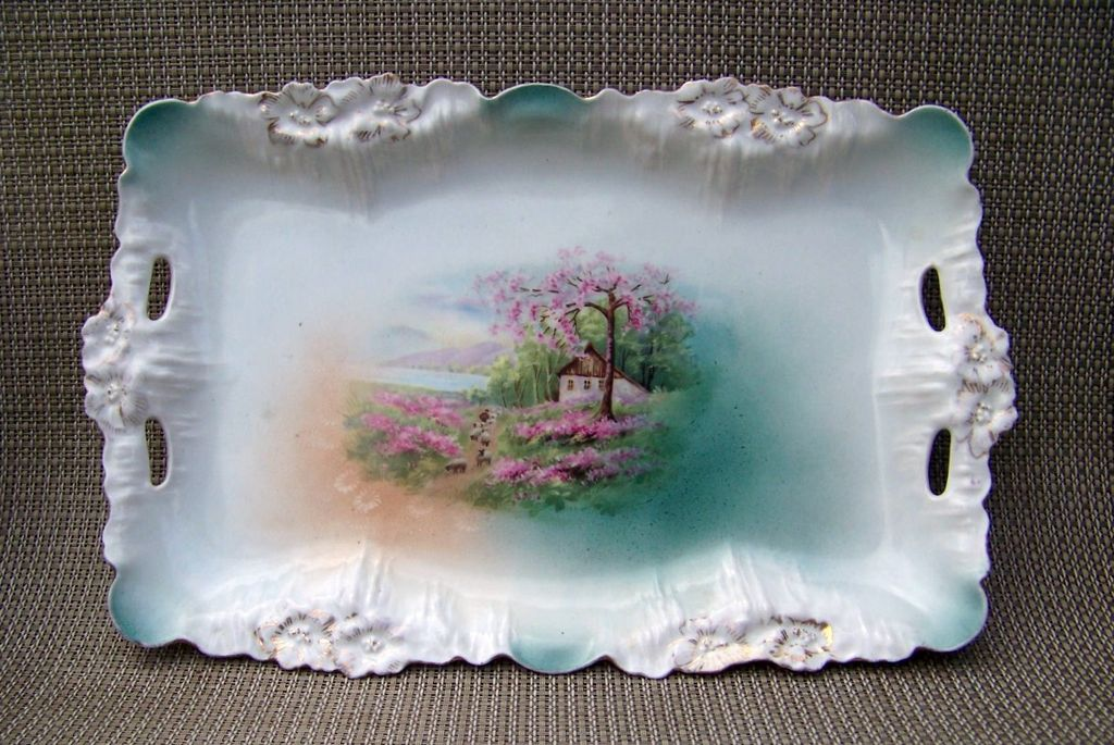 "Outstanding Vintage 1900's RS Prussia ""Sheepherder"" 11-7/8"" Icicle Mold Dresser Tray"