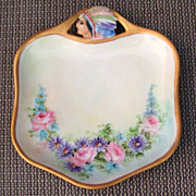 "Vintage RS Germany Hand Painted Embossed Indian Head ""Pink Roses & Daisies"" 6-1/4"" Tray"
