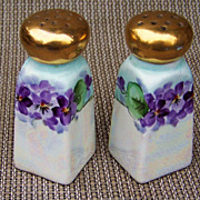 """Gorgeous & Vibrant 1900's German Silesia Hand Painted """"Violets"""" 3-5/8"""" Salt & Pepper Shakers"""