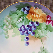"Vintage Bavaria 1900's Hand Painted ""Deep Red, Purple, & Green Grapes"" 9-1/2"" Plate"