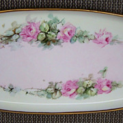 """Attractive Vintage 1914-21 Bavaria Hand Painted """"Petite Pink Roses"""" 15"""" Tray by the Chicago Listed Artist, """"Anna Larson"""""""