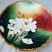 "Beautiful Vintage 1900's Germany Hand Painted Vibrant ""White Roses"" 8-1/2"" Plate by the Artist, ""Lufe"""