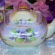 "Attractive Vintage Bavaria1900's Hand Painted ""Violets"" 7-1/4"" Long Tea Pot"