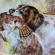 "T & V Limoges 1900's Hand Painted ""English Spaniel Hunting Dog with Prey"" 9-1/2"" Plate by the Well Known Chicago Artist, ""Julius Brauer"""