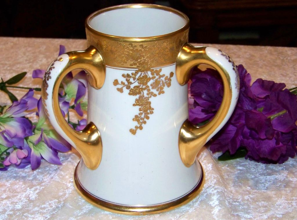 "Fabulous J.P.L. France Limoges Hand Painted Heavy Gold ""Roses"" 7-1/2"" 3-Handle Love Cup by the Well Known & Listed Edward W. Donath China Studio"