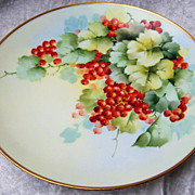 "Attractive Vintage Austria 1900's Hand Painted ""Red Currant"" 9-1/4"" Plate by the France Studio of Chicago"