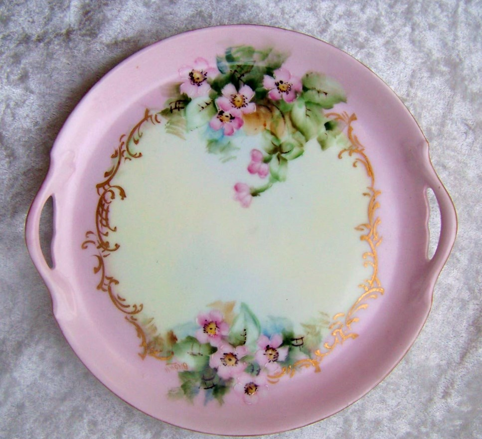 """Gorgeous Vintage 1900's Vienna Austria Hand Painted """"Wild Pink Roses"""" 7-1/2"""" 2-Handle Tray by the Artist, """"Brown"""""""