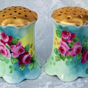 "Gorgeous Vintage Rosenthal Bavaria 1900's Vibrant Hand Painted ""Deep Red & Yellow Roses"" Shakers by the Artist, ""Doherty"""