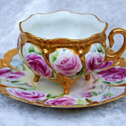 "Outstanding Bavaria 1900's Hand Painted Vibrant ""Red Roses"" Footed Cup & Saucer"
