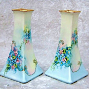 "Outstanding Favorite Bavaria 1900's Vibrant ""Forget Me Not"" Pair of Matching Candlestick Holders"