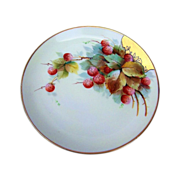 "Beautiful Vintage Austria 1900's Hand Painted ""Strawberries"" 8-5/8"" Plate"