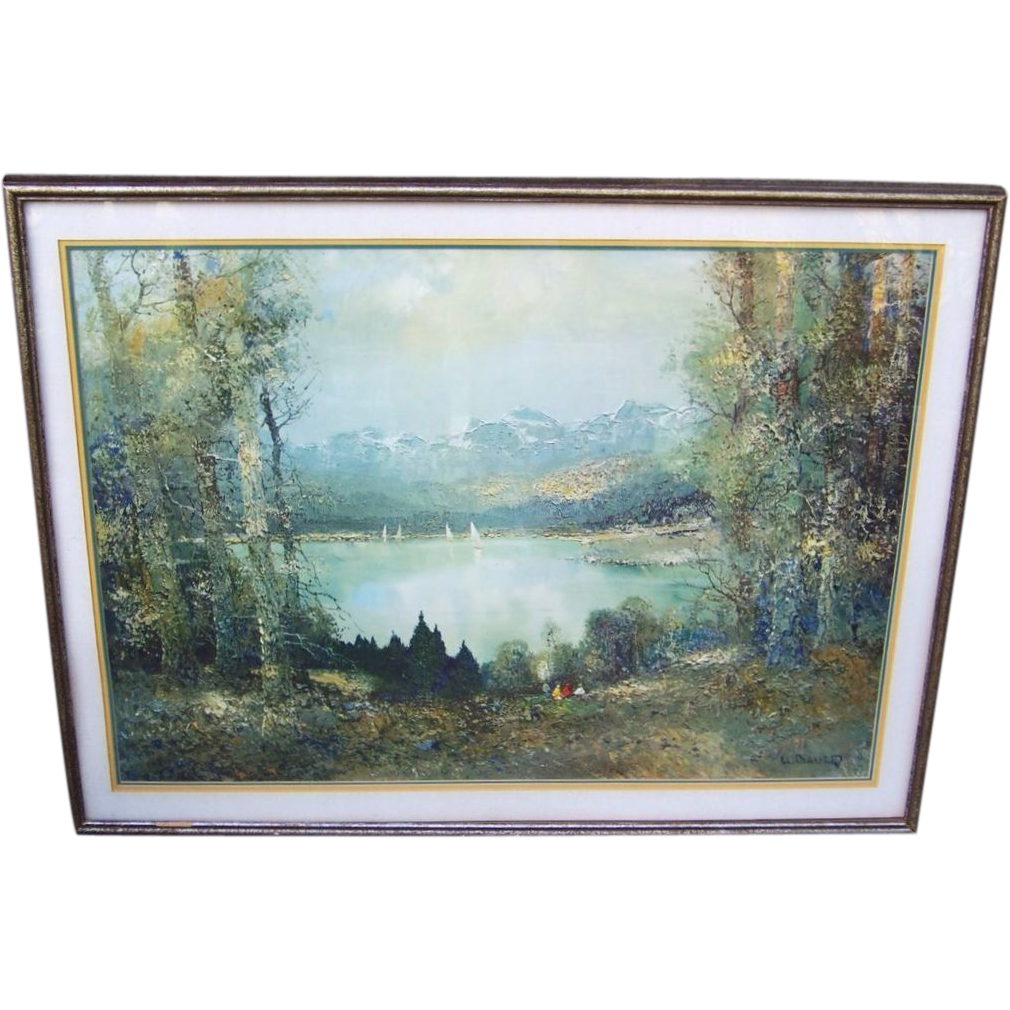 """Large & Impressive 1950-60's """"Summer Day On The Lake"""" 41"""" x 32"""" Framed & Matted Print by the German Artist, """"Willi Bauer"""""""