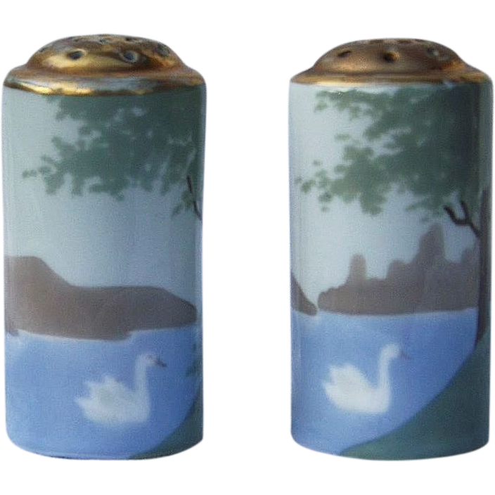 """Attractive Bavaria 1900's Hand Painted """"Swan On the Lake"""" Pair of Scenic Deco Shakers"""
