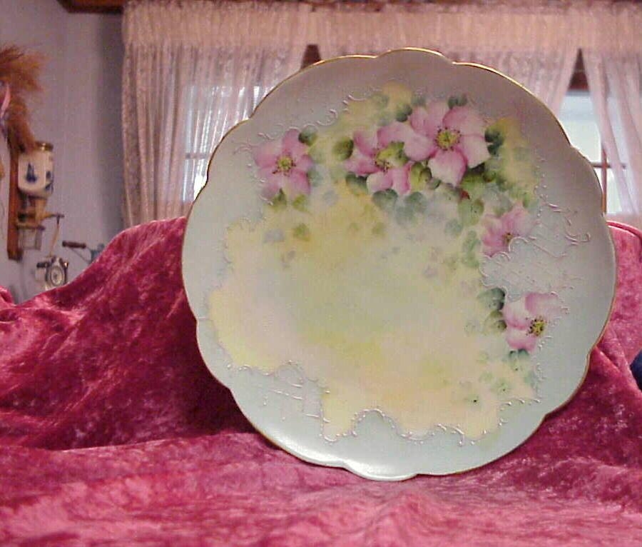 "Attractive Limoges Vintage 1900 HP ""Country Roses"" 9-1/4"" Soft Blue Plate"