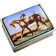"""Gorgeous English Sterling Silver 925 Enameled """"Racing Horse & Jockey"""" Scenic Pill Box"""