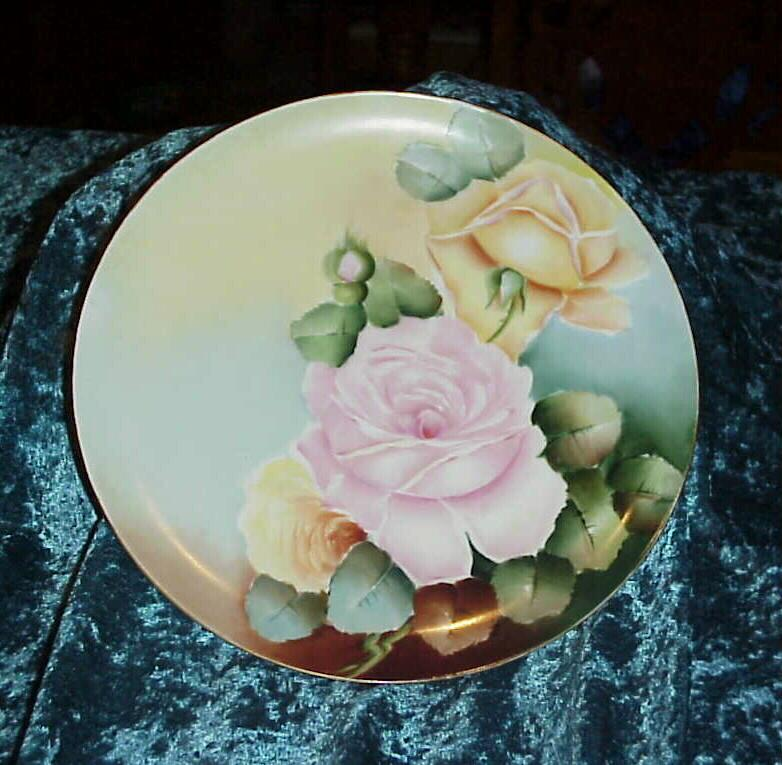 """Vintage 1900's D'Arcy's Studios on Haviland """"Pink & Yellow Roses"""" 9-1/2"""" Plate"""
