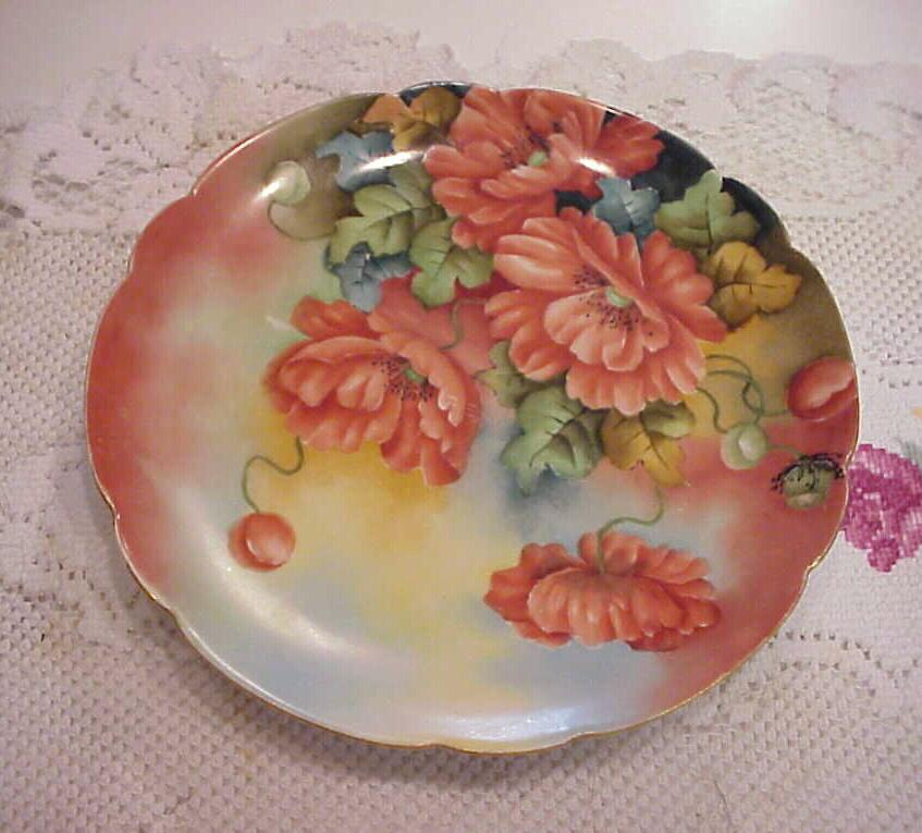 """Stunning Limoges 1900's Hand Painted """"Large Deep Burnt Orange Poppies"""" 8-7/8"""" Plate by Artist """"Goldie Fess"""""""
