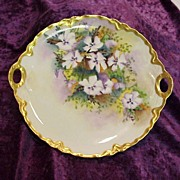 "Gorgeous Haviland France 1900's Hand Painted ""Lavender & White Pansy"" 10-3/4"" Plate by Artist ""M.M."""
