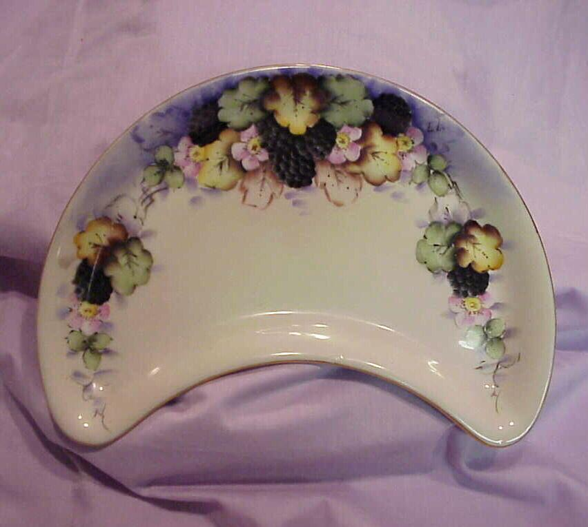"Wonderful Limoges Vintage 1900's Hand Painted ""Blackberry"" Crescent 9-1/2"" Dish"