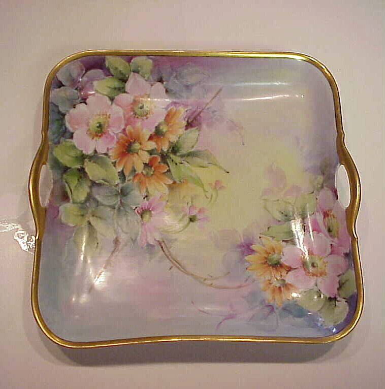 "Exquisite Bavaria Hand Painted 1920's ""Wild Roses & Daisies"" Open Handle Rectangular Tray"