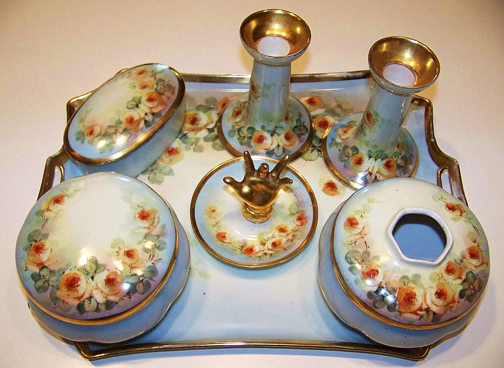 """Attractive 1900's Austria Hand Painted """"Petite Yellow Roses"""" 10 Pc. Matched Dresser Set by Artist, """"Alfred"""""""