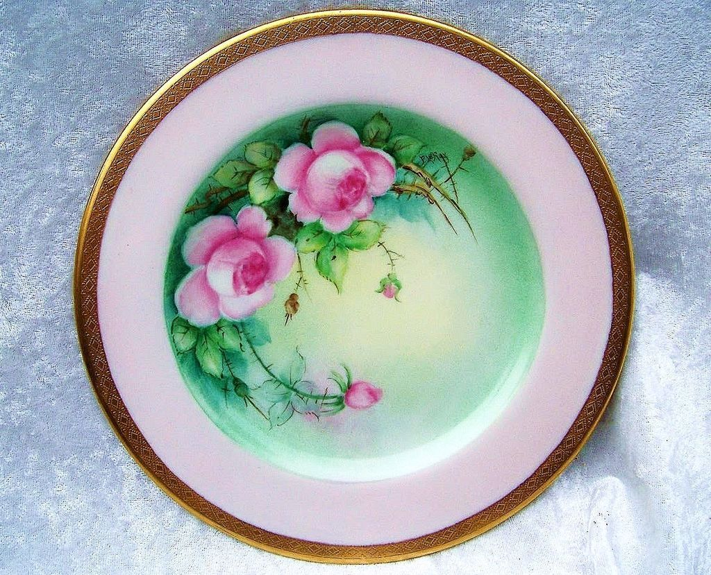"""Gorgeous Bavaria 1900's Hand Painted """"Pink Roses"""" 8-1/4"""" Plate by Pickard Artist """"LeRoy"""""""