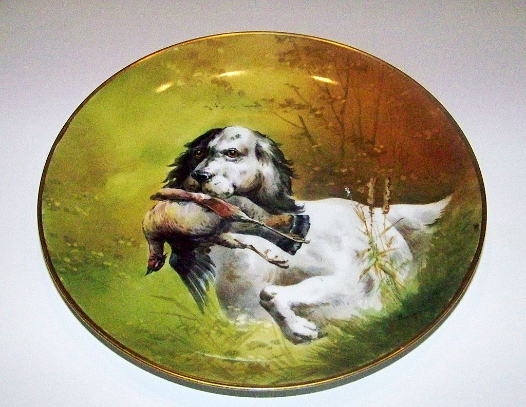 "Outstanding Limoges & Julius Brauer Studio of Chicago 1900's Hand Painted ""Hunting Dog"" 9-3/8"" Plate"