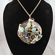 Mixed Metal Large Pendant Necklace