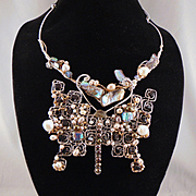 SALE Sterling Silver and 14KGF Butterfly Bib Style Necklace Bejeweled
