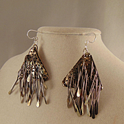 Nickel Silver Sculpted Earrings on Sterling Silver Ear Wires